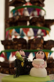 Wedding Brownie Tower. Beautiful hand made wedding characters Stock Images