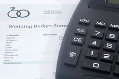 Wedding Budget with Calculator Stock Image