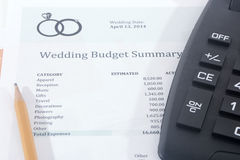 Wedding Budget with Calculator Royalty Free Stock Photos