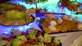 Wedding buffet: beautifully presented dishes stock footage