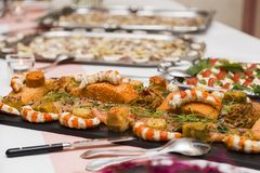 Wedding buffet with Cuisine Culinary Buffet Food royalty free stock photography