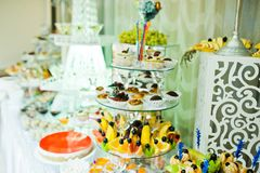 Wedding buffet with huge variety of friuts and different dessert Stock Images