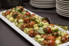 Wedding buffet with mozzarella and tomatoes stock photo