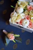 Wedding bunch of flowers in a box Royalty Free Stock Photography