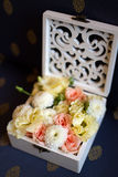 Wedding bunch of flowers in a box Stock Photos