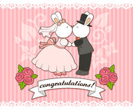 Wedding bunnies. Wedding card template with bunny bride and groom Royalty Free Stock Image