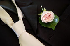 Wedding buttonhole & tie Royalty Free Stock Images