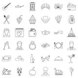 Wedding cafe icons set, outline style Royalty Free Stock Images