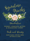 Wedding cafe invite signature drink alcohol bar menu card flower floral design  Royalty Free Stock Photography