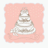 Wedding cak. E, greeting wedding card Royalty Free Stock Photography