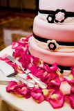 Wedding cake. With flowers on a table Stock Photo