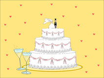 Wedding cake. The image could be used as a postcard fun for the celebration of marriages or otherwise being used in Businnes marriage ceremonies, or to describe Stock Illustration