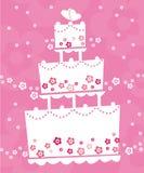 Wedding cake. Illustration of wedding cake on pink background Royalty Free Stock Images