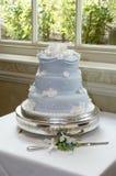 Wedding cake. Blue wedding cake and knife Royalty Free Stock Photo