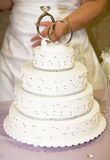 Wedding Cake. Pretty Wedding Cake With Rings on Top stock photography