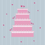 Wedding cake. Illustration of a cute wedding cake on a striped background.EPS file available stock illustration