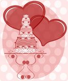 Illustration with decorated Wedding cake and heart Stock Photography