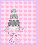 Illustration with decorated Wedding cake and heart. Illustration that represents a wedding cake decorated with white roses Stock Photos