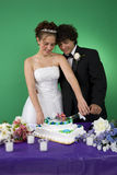 Wedding Cake. A couple with their wedding cake stock photo