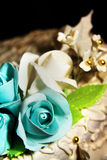 Wedding cake. With white and blue roses Stock Photography