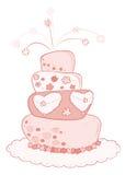 Wedding cake. Illustration of a pink wedding cake Royalty Free Stock Images