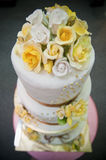 Wedding Cake. View of three layered wedding cake from top with soft effect from big aperture Stock Images