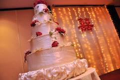 Wedding cake. A wedding cake sits nicely before being cut and eaten Stock Photography