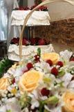 Wedding cake. Beautifully decorated tiered wedding cake Royalty Free Stock Photo