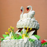 Wedding cake. The upper part of the traditional wedding cake with figures of two swans Royalty Free Stock Photography
