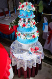 Wedding Cake. View of three layered wedding cake from top Royalty Free Stock Photography