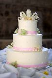 Wedding cake. A wedding cake with pink ribbon Royalty Free Stock Images