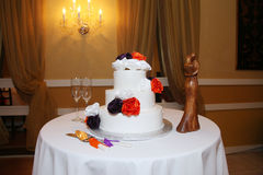 Wedding cake. On table in room Stock Photography