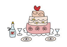 Wedding cake. Cute and colorful doodle illustration of a wedding cake, wine bottle, wine glasses and plates - perfect for Valentine's Day, first date Royalty Free Stock Photos