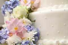 Wedding cake. With flowers arrangement for wedding ceremony Royalty Free Stock Image