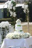 Wedding Cake. A three tiered wedding cake royalty free stock image