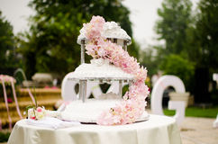 Wedding Cake. White flowers decorated three-tier wedding cake Stock Photos