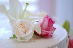 Wedding Cake. With flowers on it Stock Photo