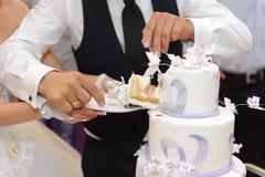 Wedding Cake. Bride and groom cutting wedding cake Royalty Free Stock Photography