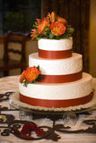 Wedding cake. A beautiful three layered wedding cake Stock Photography