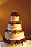 Wedding cake. Multi tiered wedding cake on reception table Royalty Free Stock Photography