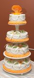 Wedding cake. With sugar shell, rings and lily Royalty Free Stock Images