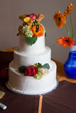 Wedding Cake. With Flowers and other Decorations stock images