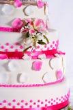 Wedding cake. Beautiful pink wedding cake to celebrate that special day Royalty Free Stock Photo
