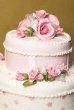 Wedding Cake. Pink and white floral design wedding cake Stock Photography