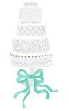 Wedding cake. Cream wedding cake with blue ribbon- illustration stock illustration