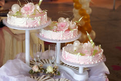 Wedding cake. Top of cake at wedding Royalty Free Stock Image