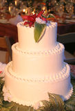 Wedding cake. And glasses waiting for guests Royalty Free Stock Image
