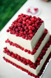 Wedding cake. Detail of wedding cake at outdoor reception Stock Photography