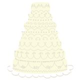 Wedding cake. Cream cake white icing decoration. Also available in pink royalty free illustration