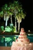 wedding cake on background of pool royalty free stock photo